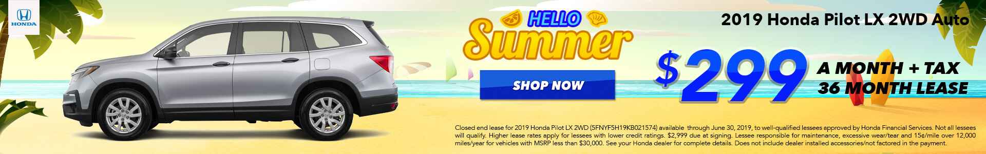 2019 Honda Pilot LX Lease for $299