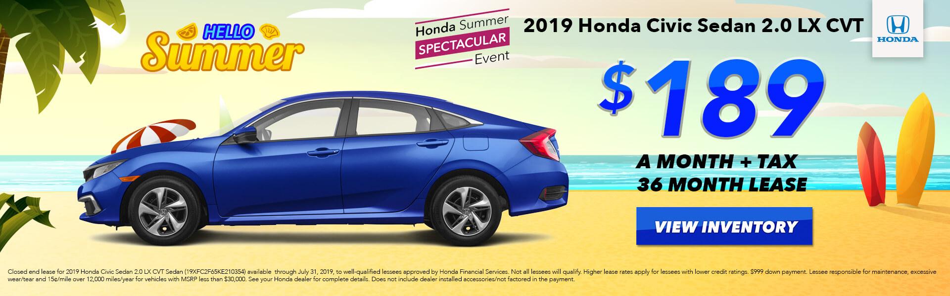 2019 Honda Civic Lease for $189