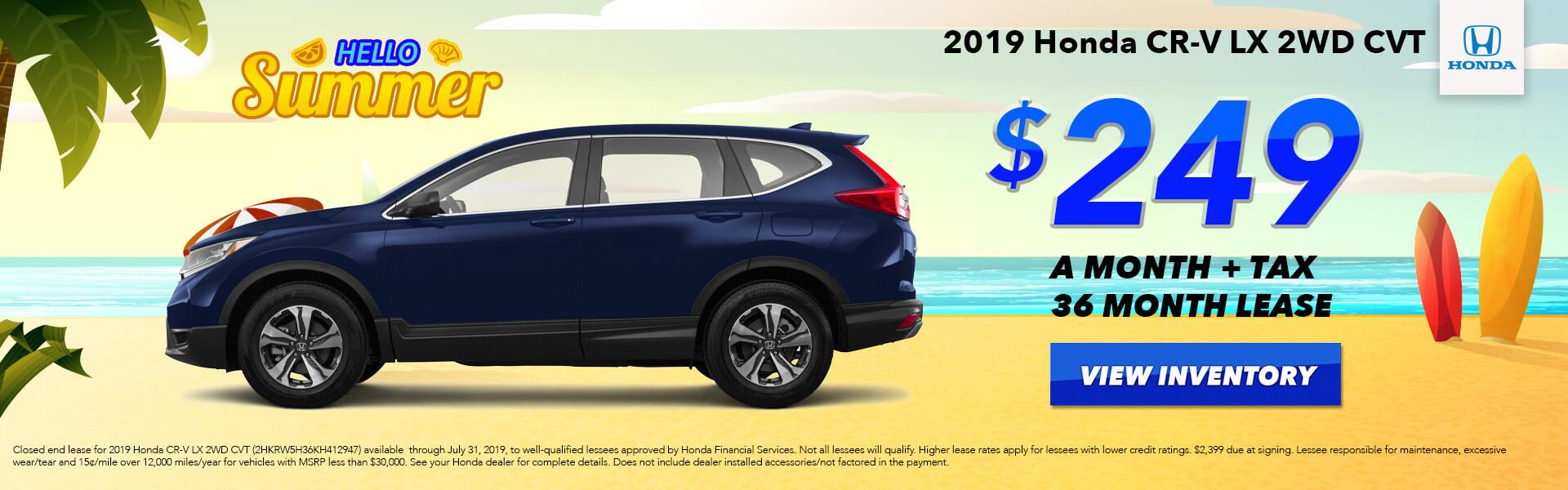 2019 Honda CR-V LX Lease for $249