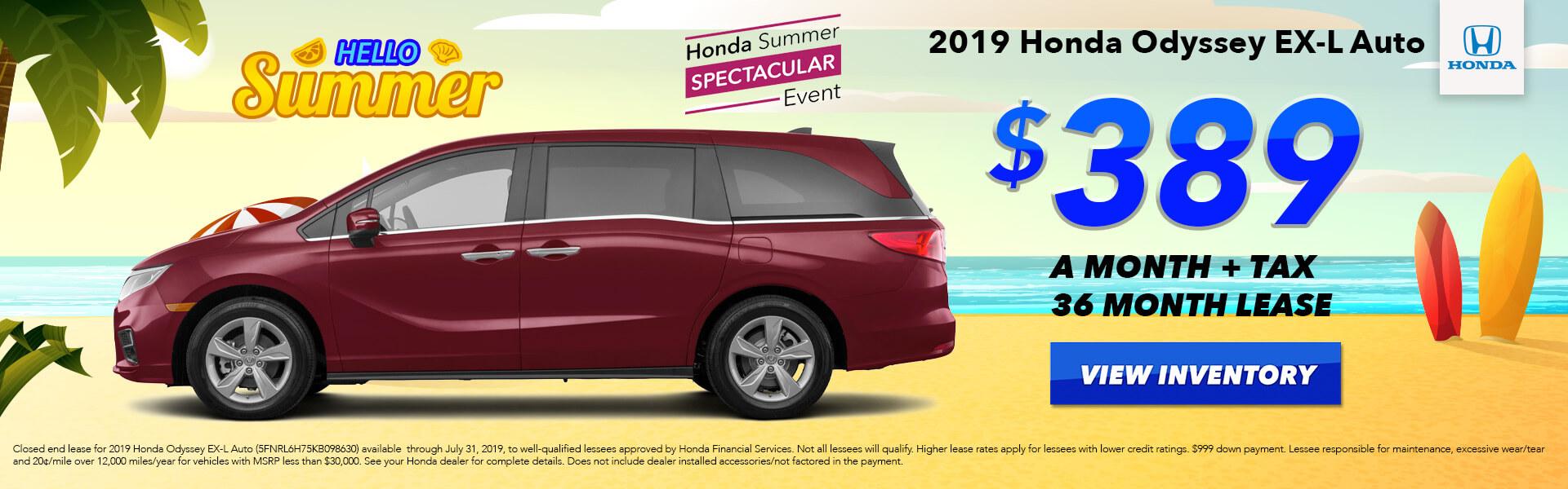2019 Honda Odyssey Lease for $389