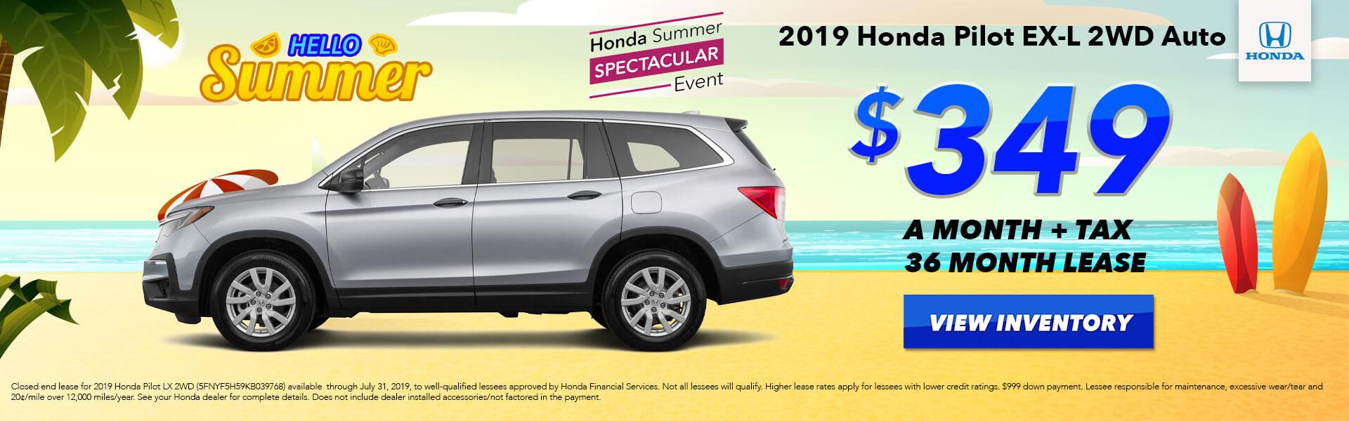 2019 Honda Pilot Lease for $349