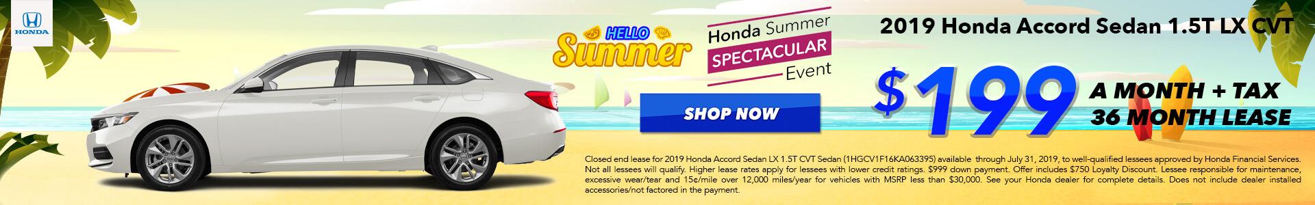 2019 Honda Accord LX Lease for $199