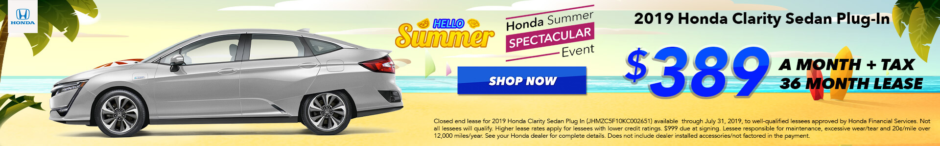 2019 Honda Clarity Lease for $389