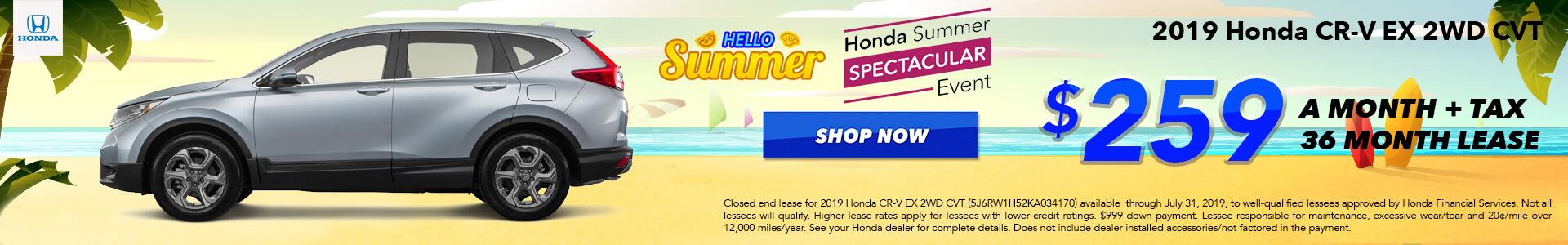 2019 Honda CR-V EX Lease for $259