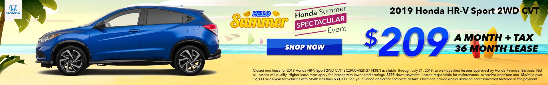 2019 Honda HR-V Lease for $209