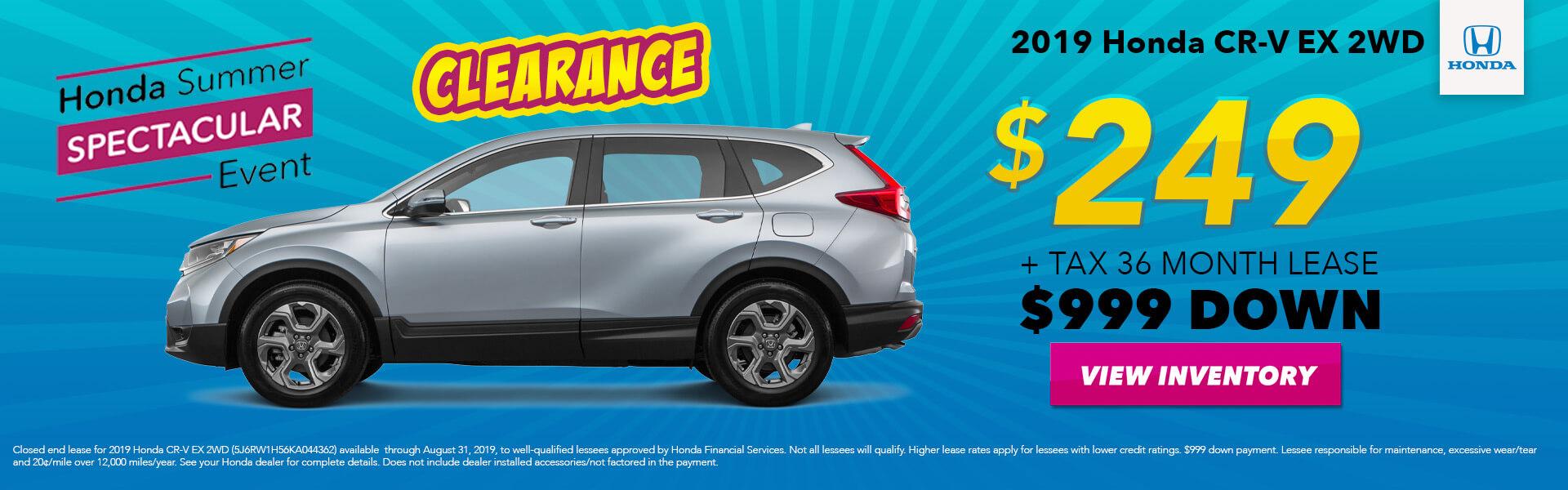 2019 Honda CR-V EX Lease for $249