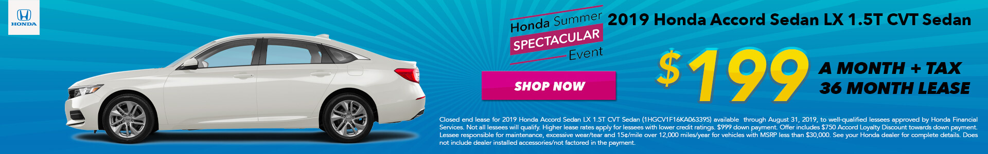 2019 Honda Accord LX Lease for $199