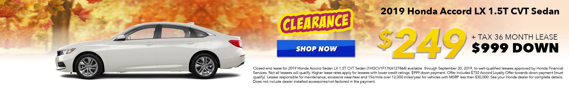 2019 Honda Accord LX Lease for $249