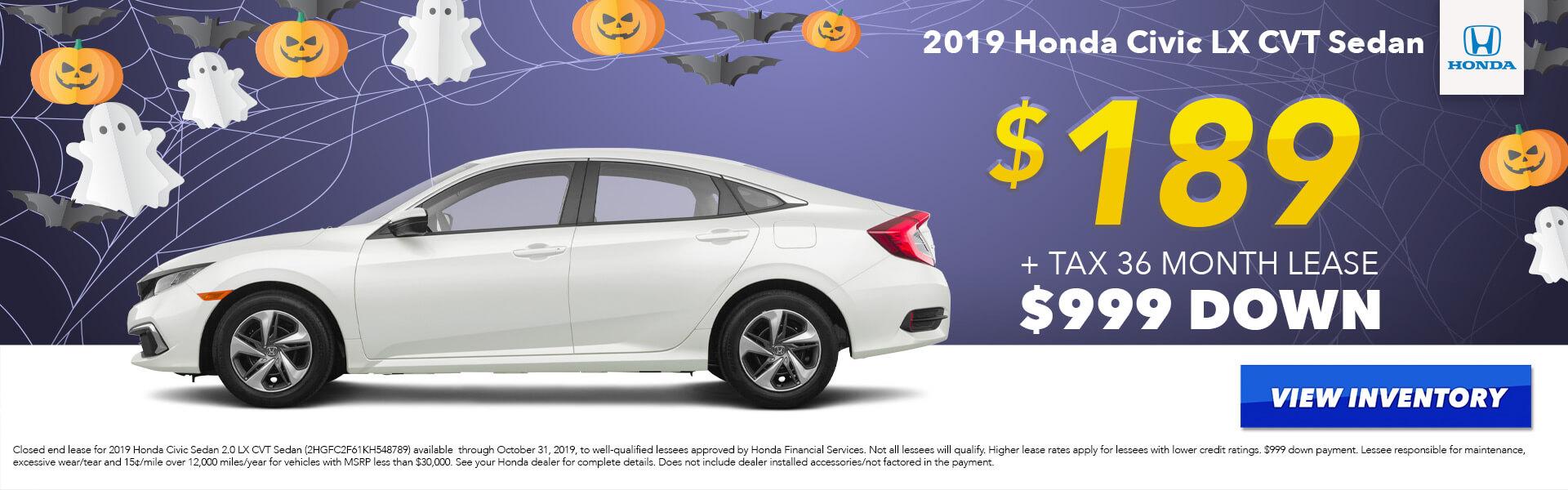 2019 Honda Civic LX Lease for $189