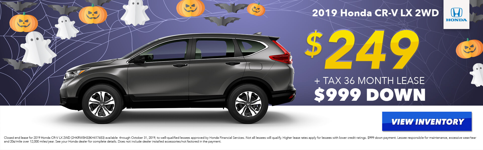2019 Honda CR-V LX Lease for $249