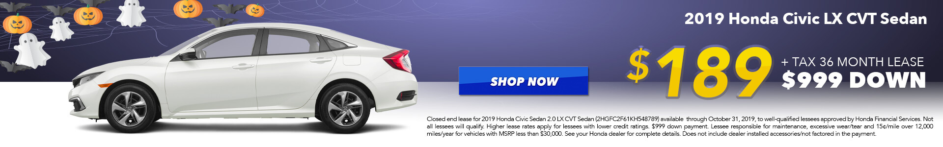 2019 Honda Civic LX Lease for $189