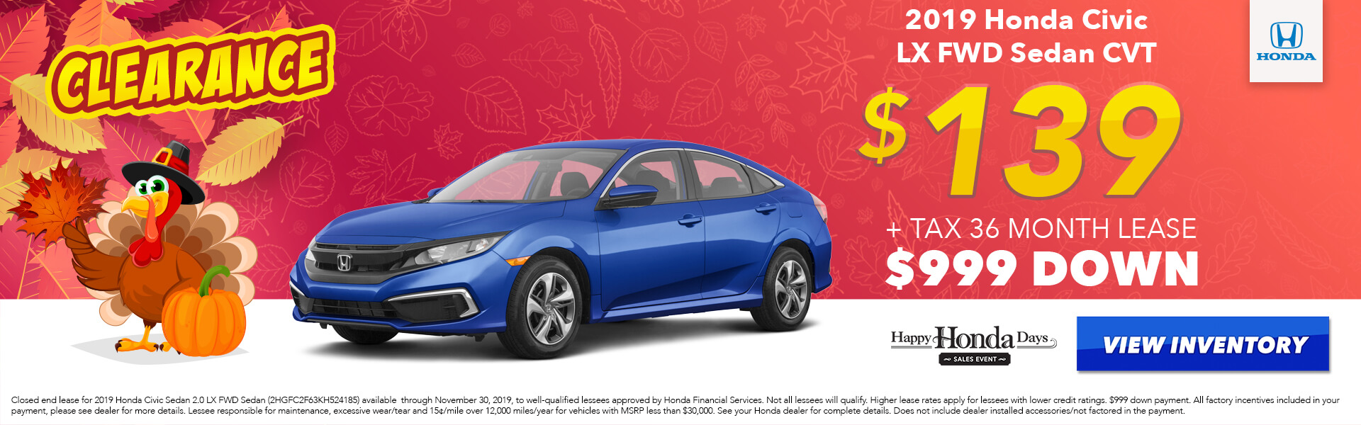 2019 Honda Civic LX Lease for $139