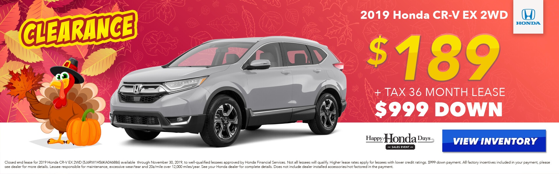 2019 Honda CR-V EX Lease for $189