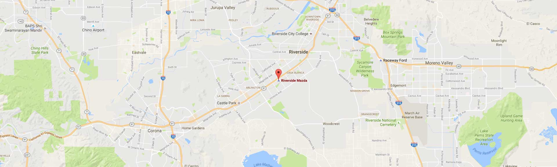 Map to Riverside Mazda