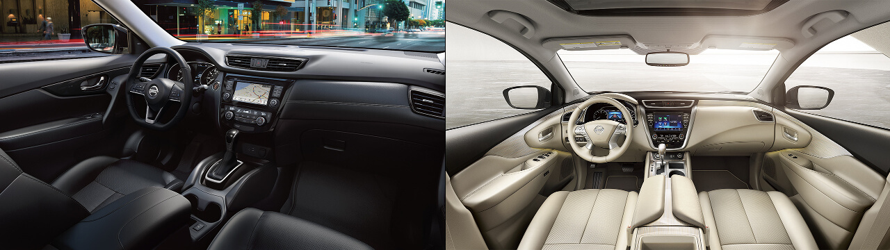 2018 Nissan Rogue & 2018 Nissan Murano side by side interior