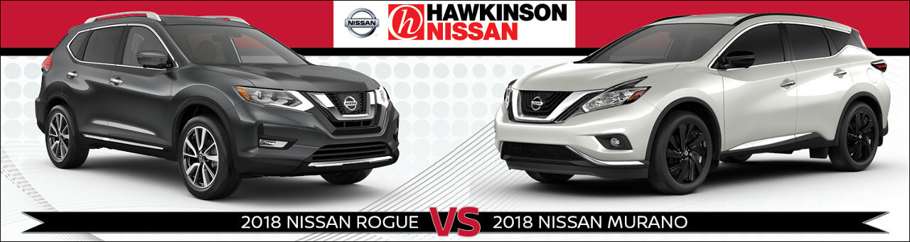 2018 Nissan Rogue vs. 2018 Nissan Murano Promotional Banner