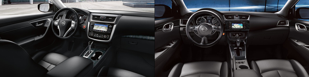 2018 Nissan Altima & 2018 Nissan Sentra side by side interior image