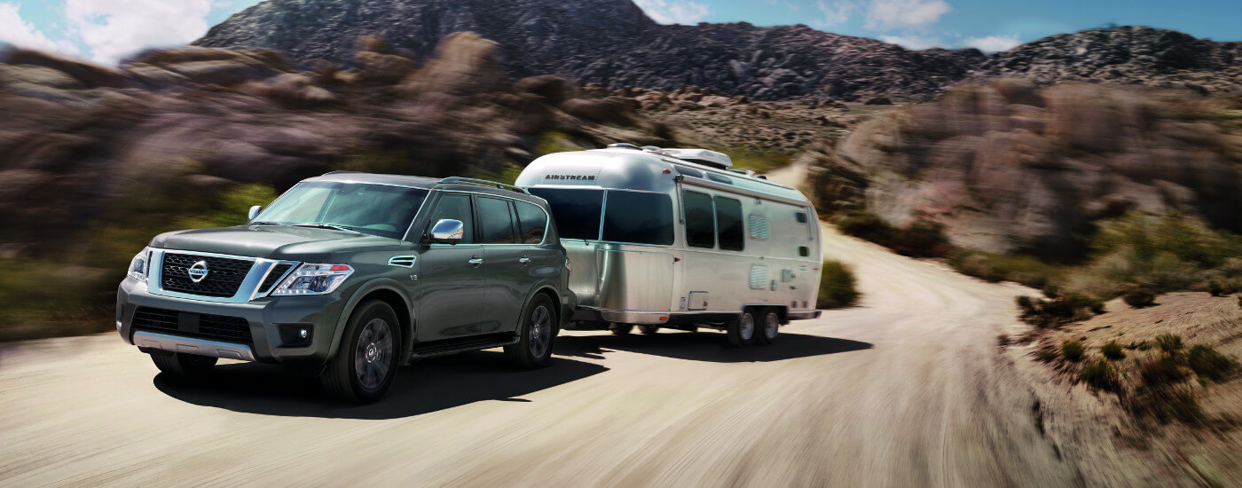 2017 Nissan Armada towing a trailer