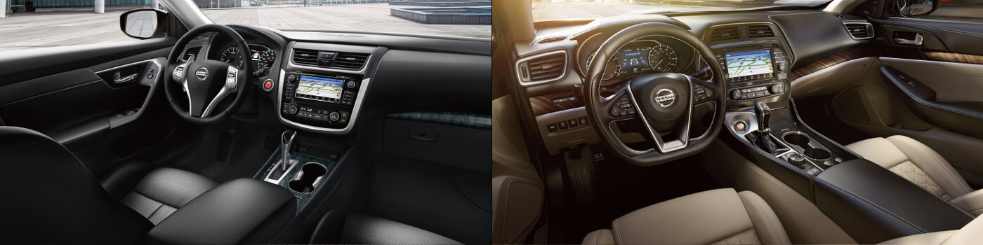 2018 Nissan Altima And 2018 Nissan Maxima Interior Side By Side Image