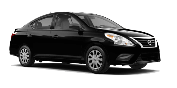 A black Nissan Versa S plus