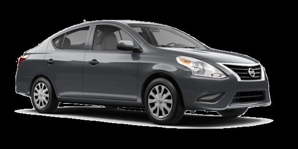 A silver Nissan Versa S
