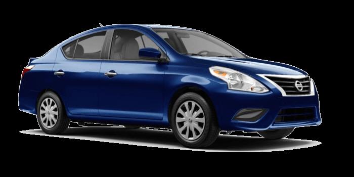 A blue Nissan Versa SV