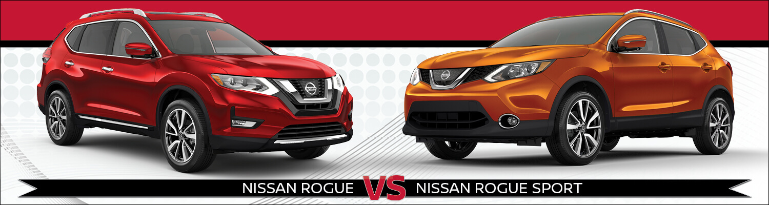 A red Nissan Rogue & Rogue Sport on a red & white background