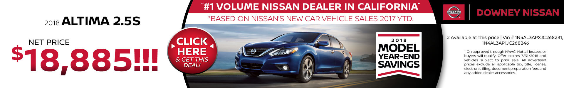 2018 Nissan Altima - Purchase for $18,885