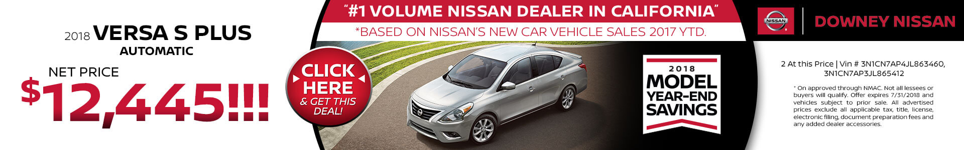 2018 Versa - Purchase for $12,445