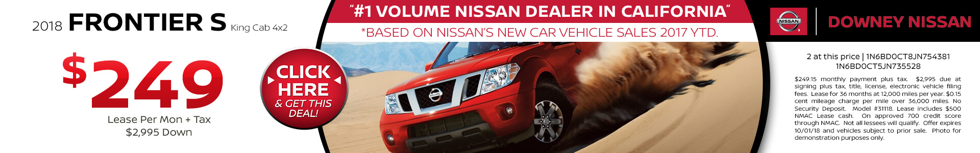 2018 Frontier - Lease for $249