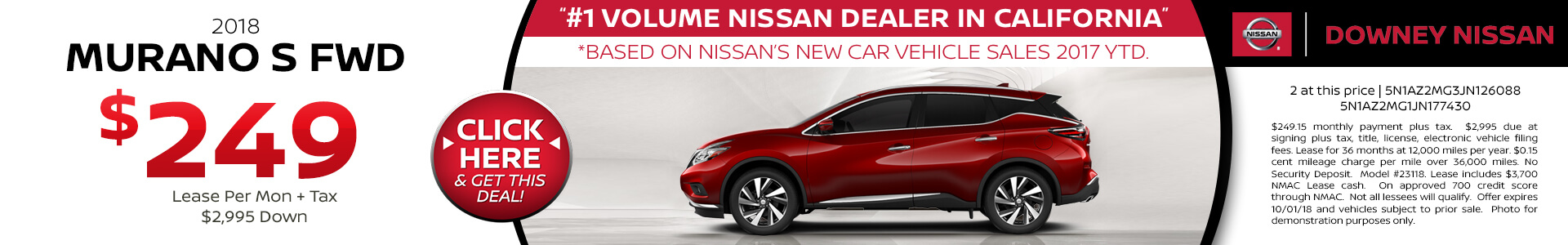 2018 Murano - Lease for $249