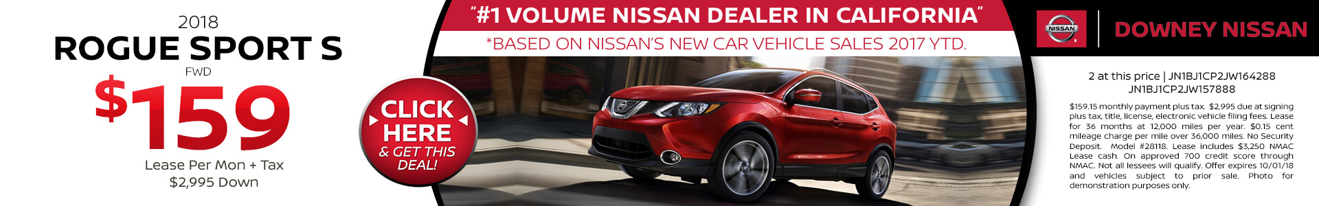 2018 Rogue Sport - Lease for $159