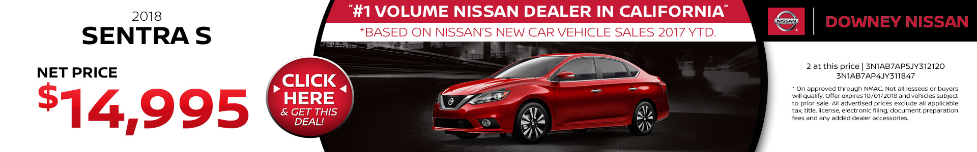 2018 Nissan Sentra - Purchase for $14,995