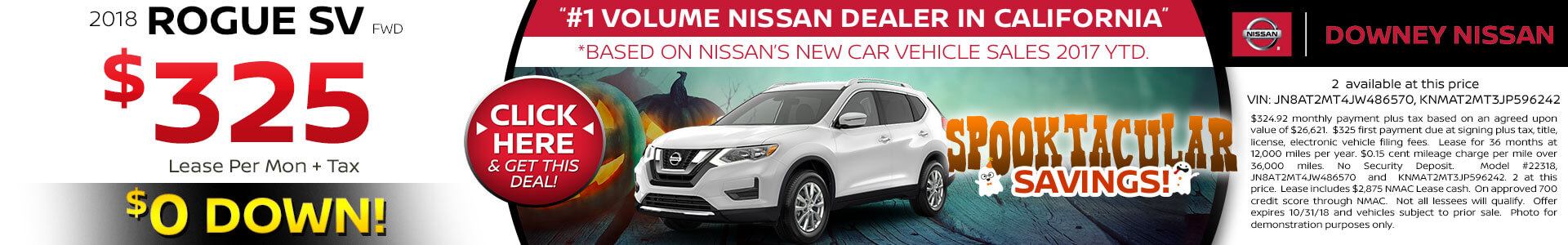 2018 Nissan Rogue - Lease for $325