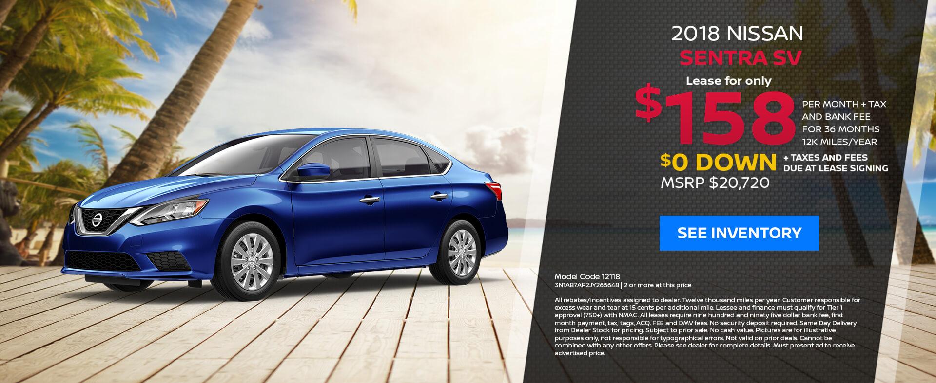 Nissan Sentra $158 Lease