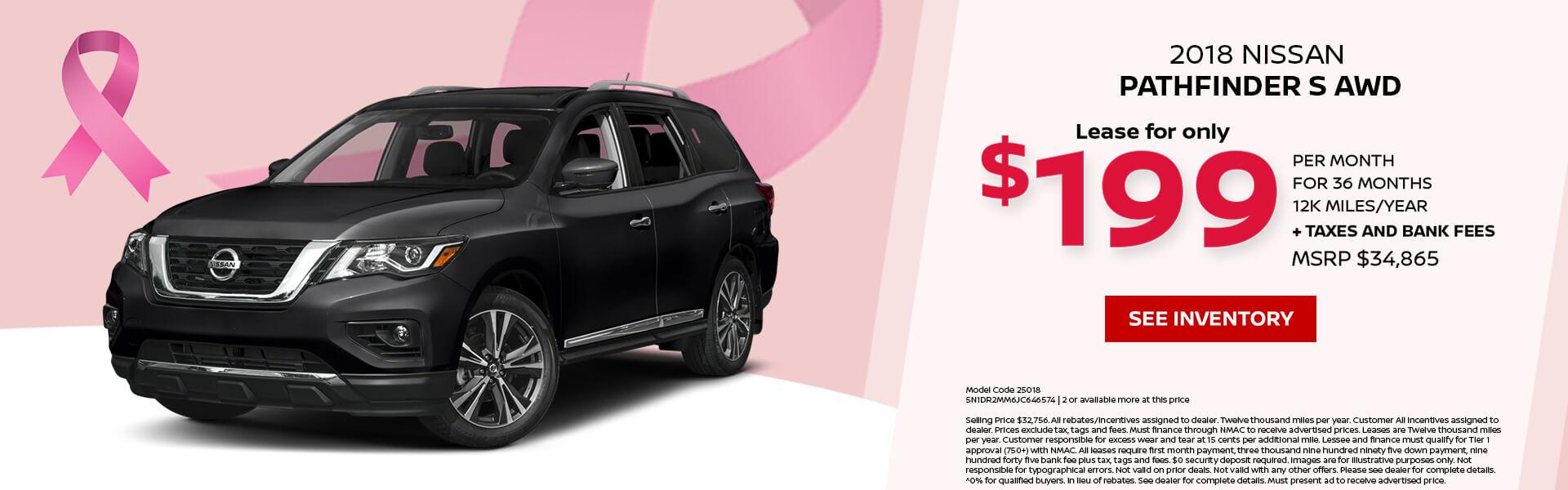 Marvelous Nissan Pathfinder $199 Lease