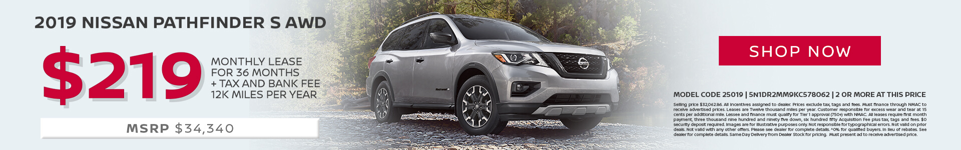 Nissan Pathfinder $219 Lease