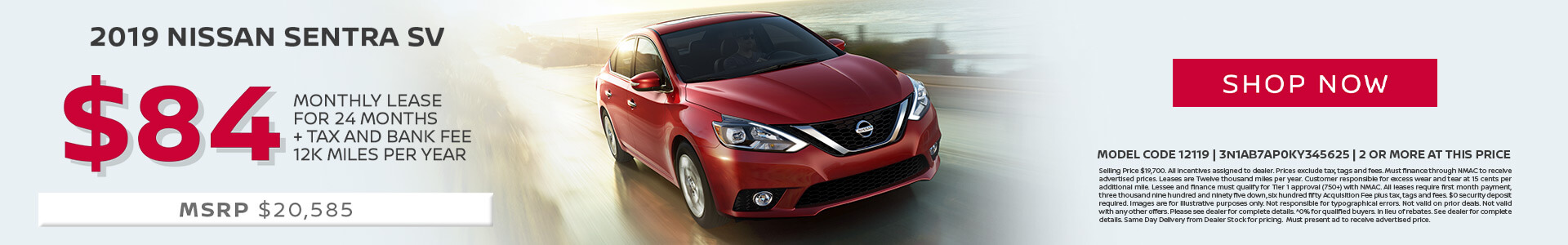 Nissan Sentra $84 Lease
