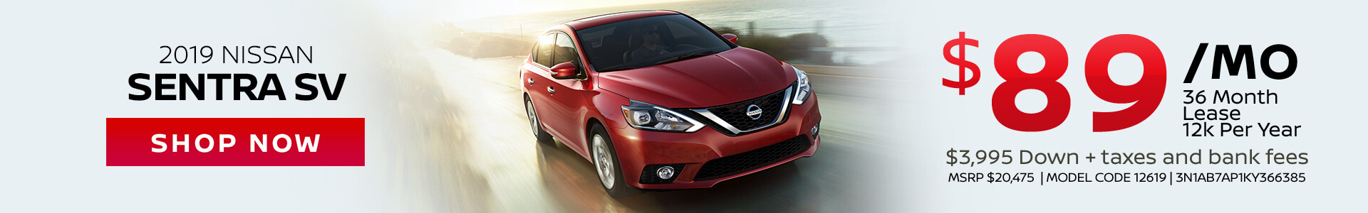 Nissan Sentra $89 Lease
