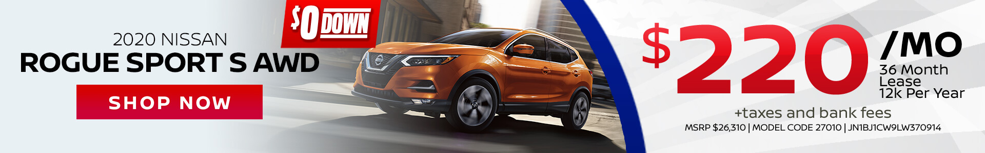 Nissan Rogue Sport $220 Lease