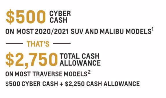 $500 cyber cash on most 2020/2021 suv and malibu models - that's $2,750 total cash allowance on most trailblazer models - $500 cyber cash + $2,250 cash allowance
