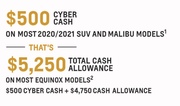$500 cyber cash on most 2020/2021 suv and malibu models - that's $5,250 total cash allowance on most equinox models - $500 cyber cash + $4,750 cash allowance