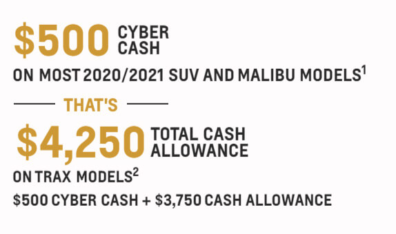 $500 cyber cash on most 2020/2021 suv and malibu models - that's $4,250 total cash allowance on most trax models - $500 cyber cash + $3,750 cash allowance