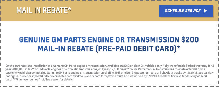 GM Genuine Mail in Rebate
