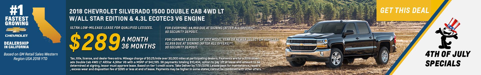 Chevrolet Silverado $289 Lease