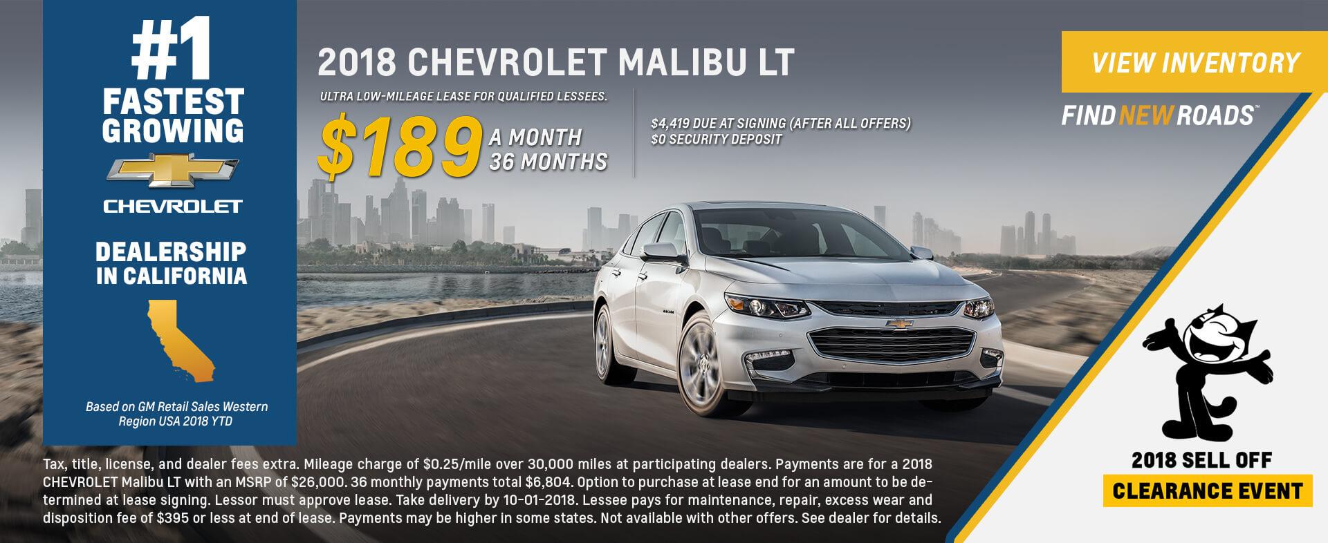 Chevrolet Malibu $189 Lease