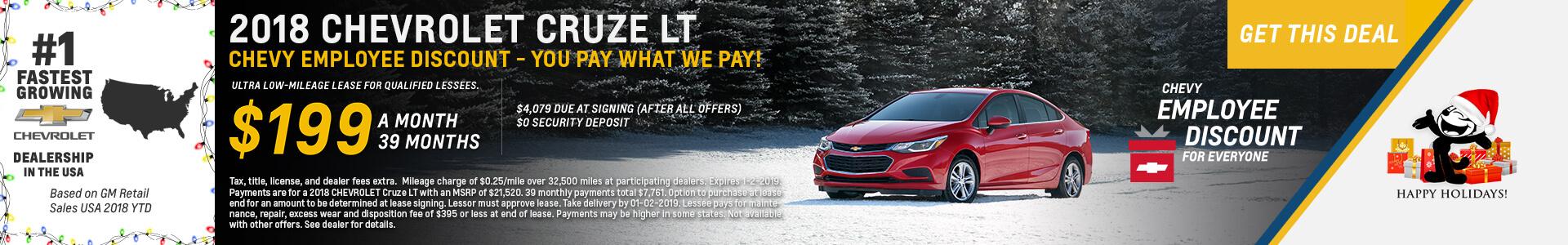 Chevrolet Cruze $199 Lease