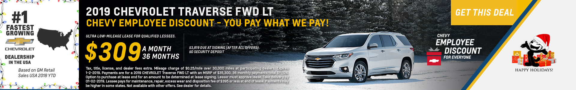 Chevrolet Traverse $309 Lease