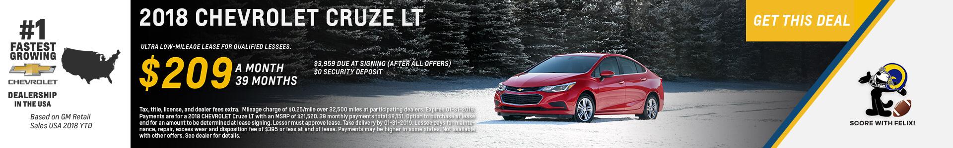 Chevrolet Cruze $209 Lease