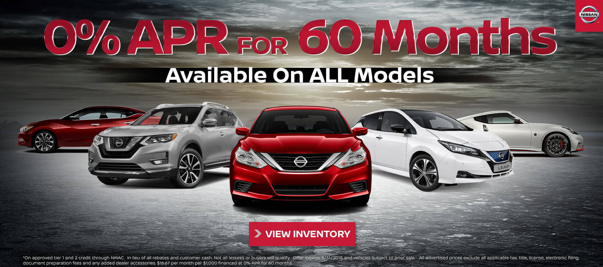 0% for 60 Nissan New Inventory